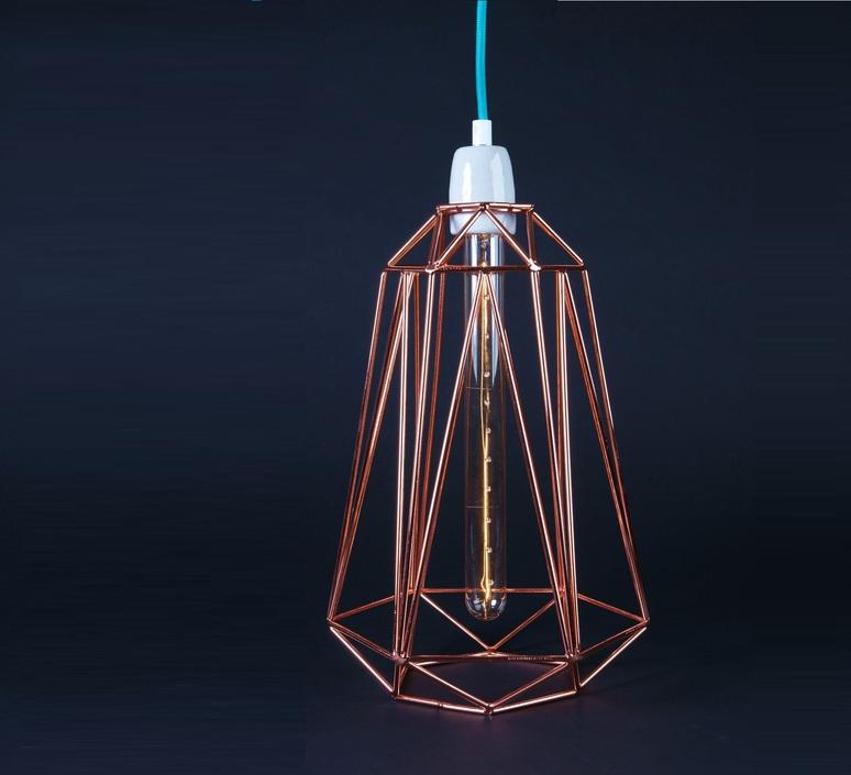 baladeuse suspension diamond 5 bronze bleu h39cm. Black Bedroom Furniture Sets. Home Design Ideas
