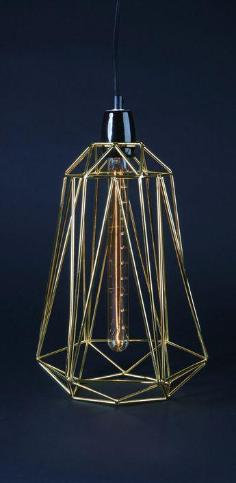 Suspension diamond 5 or noir h39cm filamentstyle normal