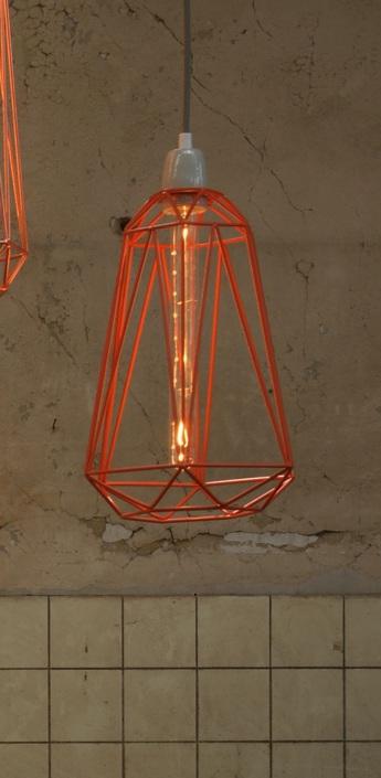 Suspension diamond 5 orange gris h39cm filamentstyle normal