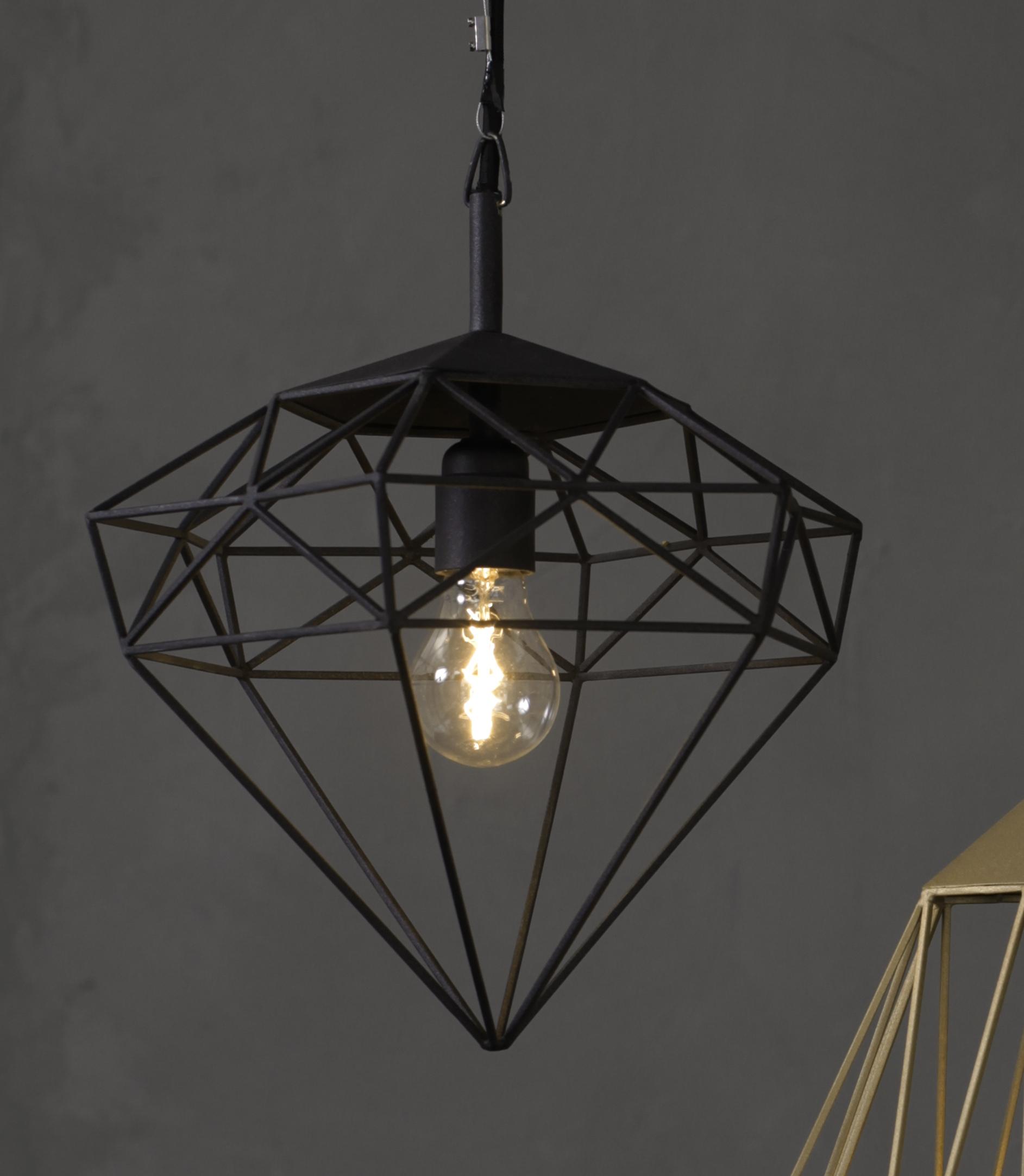 Suspension diamond small noir h34cm jspr luminaires for Luminaire suspension noir