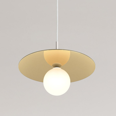 Disc and sphere blanc tissu gwendolyn et guillane kerschbaumer suspension pendant light  areti disc and sphere fabric cable  design signed nedgis 64217 thumb
