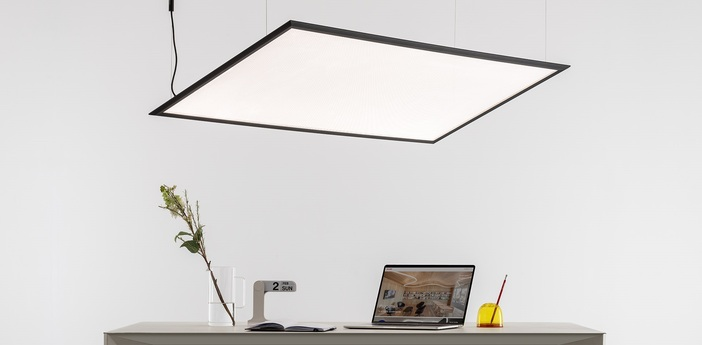 Suspension discovery space rectangular blanc led 2700k 3554lm l75cm h150cm artemide normal