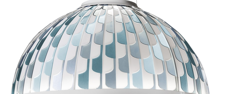Suspension dome m bleu led 2700k 1600lm o55cm h30cm slamp normal