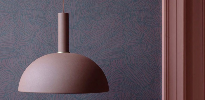 Suspension dome shade rouge o38cm h16cm ferm living normal