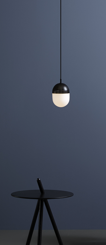 Suspension dot pendant m noir led o12cm h16cm woud normal