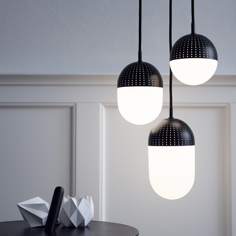 Suspension dot pendant s noir led o12cm h13cm woud normal