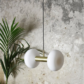 Suspension double gambi blanc laiton o25cm h48cm eno studio normal