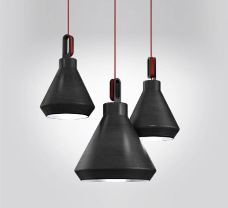 Driyos delineodesign zava driyos suspension h21cm blue iron cable scarlet red rayon luminaire lighting design signed 17579 product