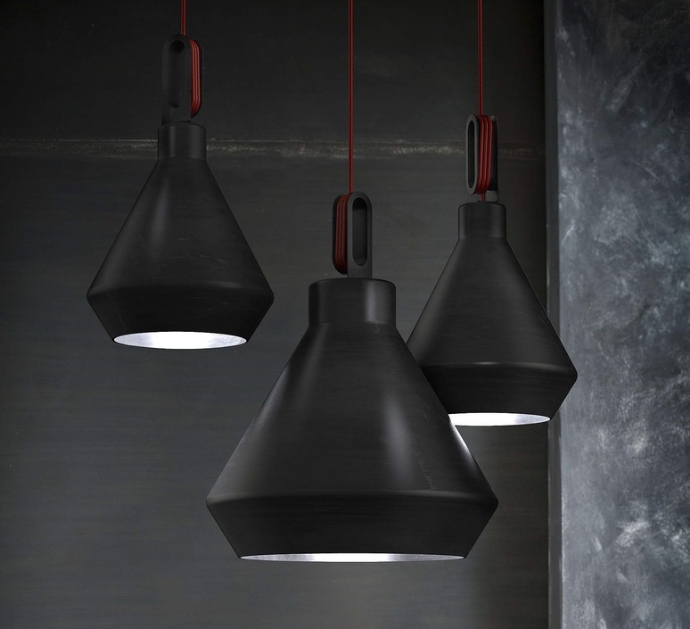 suspension driyos noir c ble rouge 30cm h27cm zava luminaires nedgis. Black Bedroom Furniture Sets. Home Design Ideas