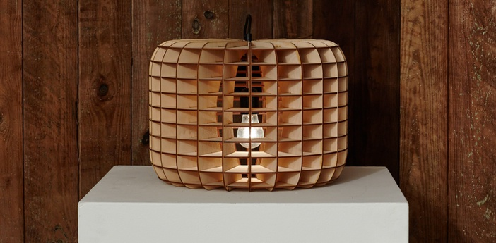 Suspension drum bois naturel cuivre o40 5cm h29cm massow design normal