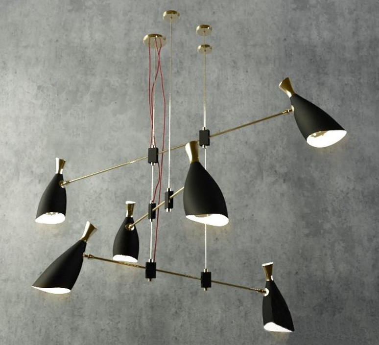 Suspension duke noir et or 168cm delightfull for Suspension luminaire noir et or