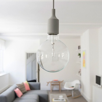 Suspension e27 gris clair led h23cm o12 5cm muuto normal