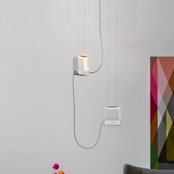 Suspension eau de lumiere 2 carres led gris blanc marbre h23cm designheure normal