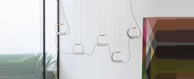 Suspension eau de lumiere 5 led gris blanc marbre h80cm designheure normal