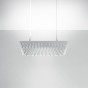 Suspension eggboard acoustique blanc led direct indirect 3000k 3328lm dimmable dali o80cm h5 6cm artemide normal