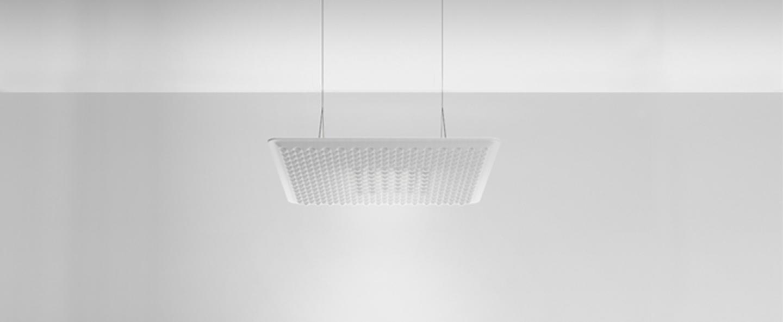 Suspension eggboard blanc acoustique led direct 3000k 1313lm dimmable dali o80cm h5 6cm artemide normal