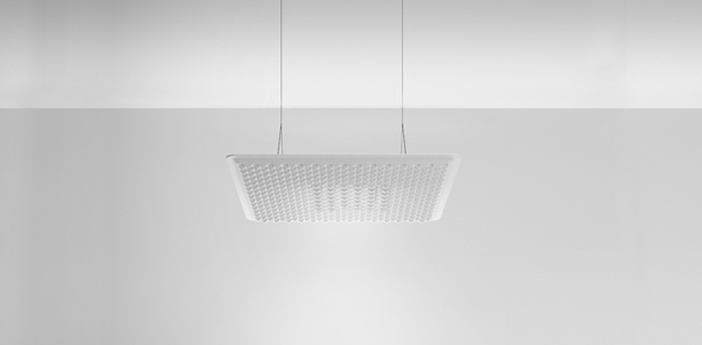 Suspension eggboard blanc acoustique led direct 3000k 1313lm dimmable dali o80cm h5 6cm artemide normal