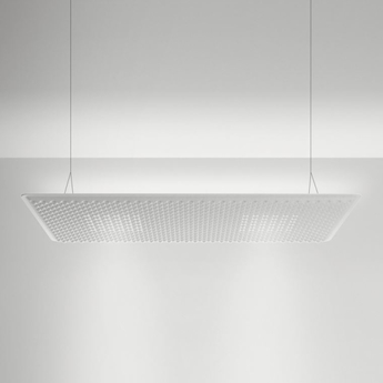 Suspension eggboard blanc acoustique led direct 3000k 2626lm dimmable dali l160cm h5 6cm artemide normal
