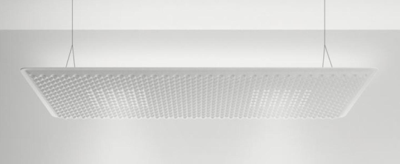 Suspension eggboard blanc acoustique led direct indirect 3000k 6656lm dimmable dali l160cm h5 6cm artemide normal