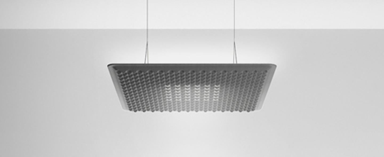 Suspension eggboard gris acoustique led direct 3000k 1313lm dimmable dali o80cm h5 6cm artemide normal