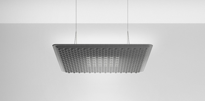 Suspension eggboard gris acoustique led direct 3000k 1313lm dimmable dali o80cm h5 6cm artemide normal