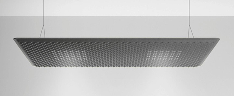 Suspension eggboard gris acoustique led direct 3000k 2626lm dimmable dali l160cm h5 6cm artemide normal