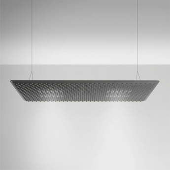 Suspension eggboard gris acoustique led direct 3000k 2626lm dimmable dali l160cm h5 6cm artemide normal
