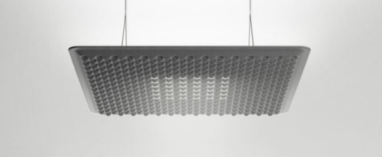 Suspension eggboard gris acoustique led direct indirect 3000k 3328lm dimmable dali o80cm h5 6cm artemide normal