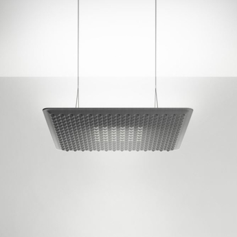 Suspension eggboard gris acoustique led direct indirect 3000k 3328lm dimmable dali o80cm h5 6cm artemide normal