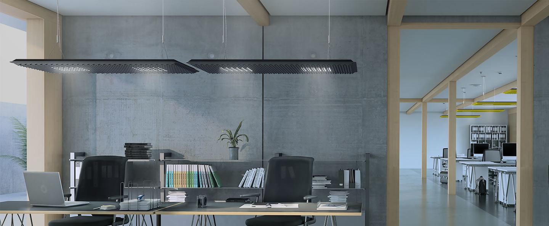Suspension eggboard gris acoustique led direct indirect 3000k 6656lm dimmable dali l160cm h5 6cm artemide normal