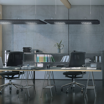Suspension eggboard gris acoustique led direct indirect 3000k 6656lm dimmable dali l160cm h5 6cm artemide normal