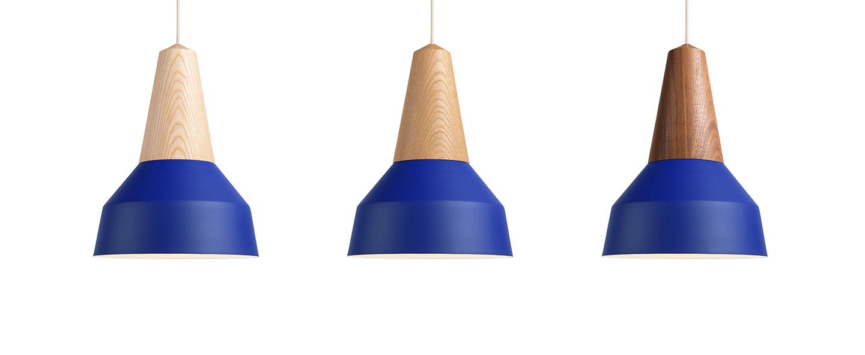 Suspension eikon basic chene et bleu veritable o26cm h35cm schneid normal