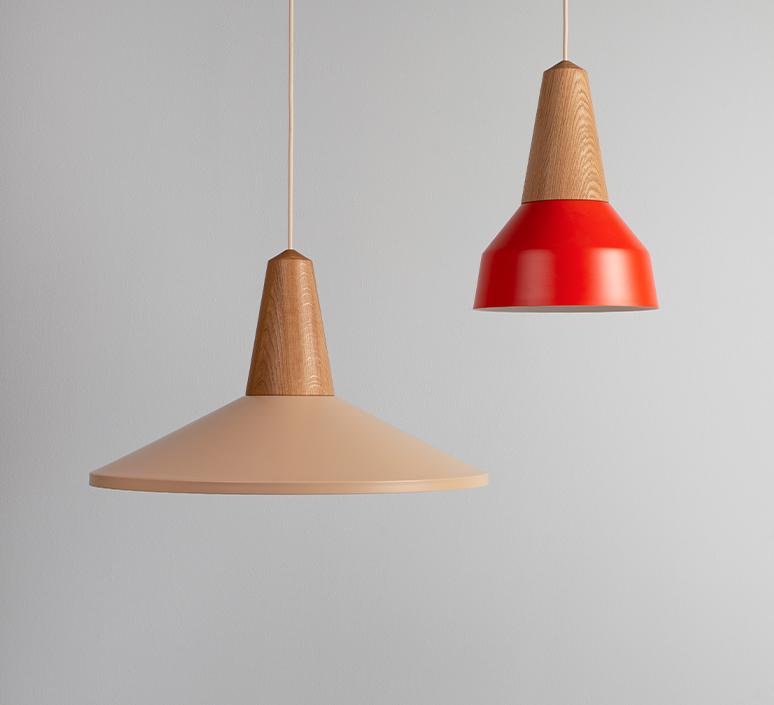 Eikon basic julia mulling et niklas jessen suspension pendant light  schneid eikon basic oak poppy red white canopy  design signed nedgis 106470 product