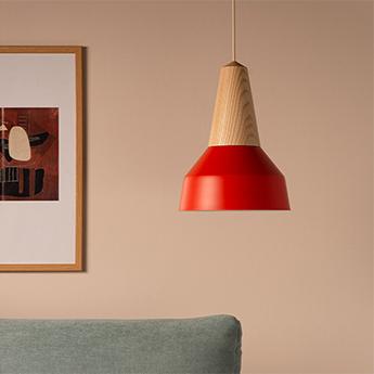 Suspension eikon basic frene et rouge coquelicot o26cm h35cm schneid normal