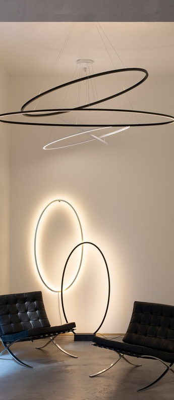 Suspension ellisse double blanc led 2700k 4675lm o135cm h70cm nemo lighting normal