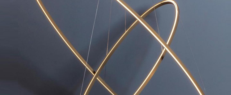 Suspension ellisse double mega or led 3000k 4675lm o186cm h95cm nemo lighting normal