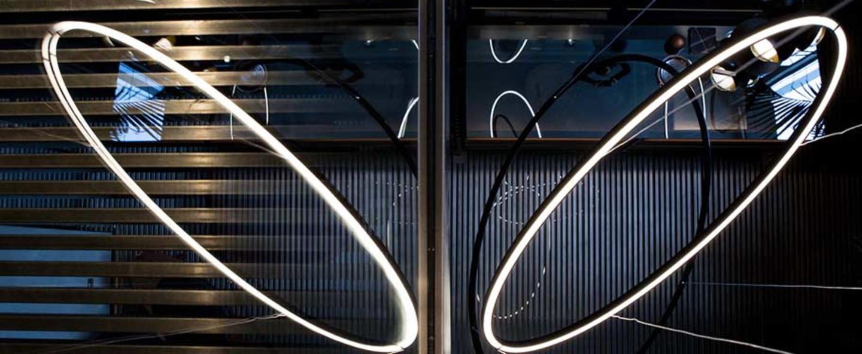 Suspension ellisse downlight or led 2700k 3450lm l135cm h70cm nemo lighting normal