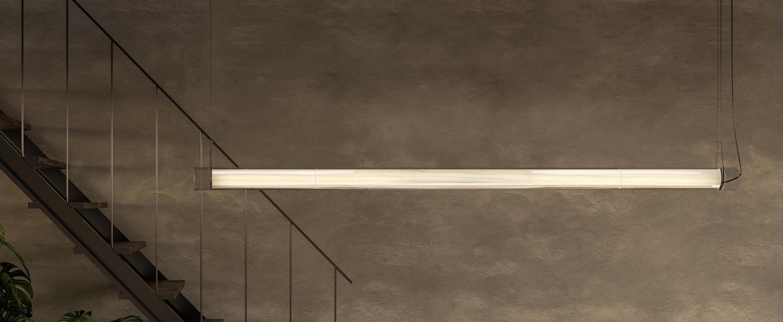 Suspension estela s blanc ivoire led 3000k 2400lm l150cm h6cm lzf normal