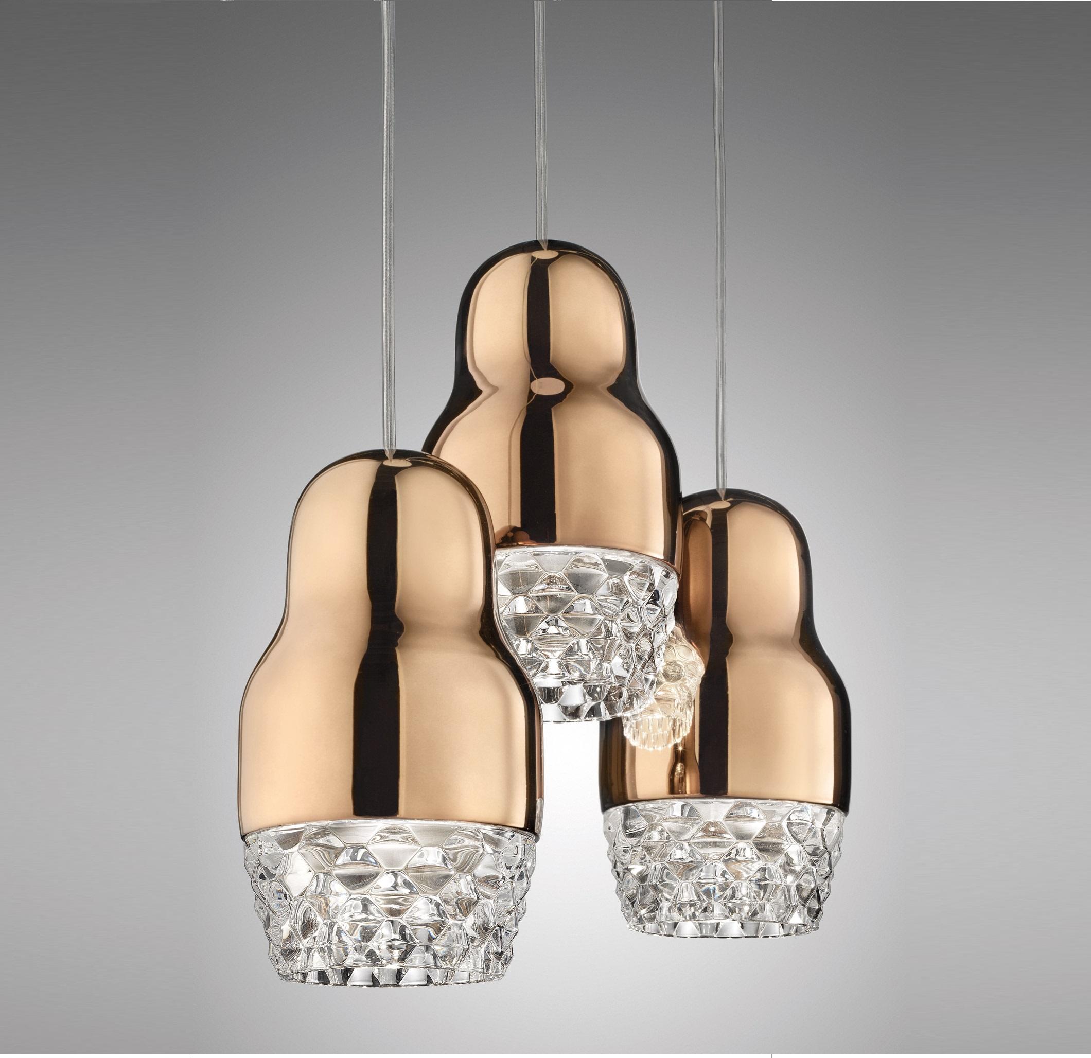 suspension fedora 3 or rose verre led 30cm axo light luminaires nedgis. Black Bedroom Furniture Sets. Home Design Ideas