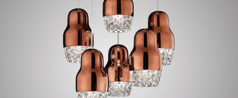 Suspension fedora 6 bronze verre led o42cm axo light normal