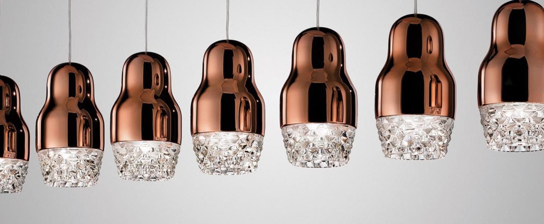 Suspension fedora 7 bronze verre led o42cm axo light normal