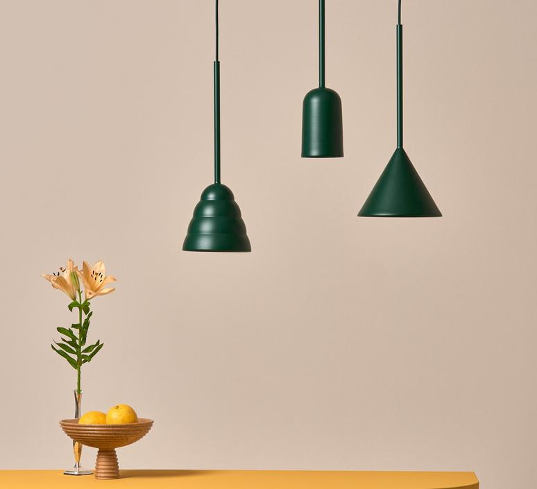 Figura cone julia mulling et niklas jessen suspension pendant light  schneid figura cone vert  design signed nedgis 66030 product