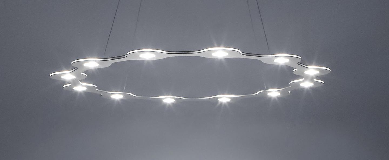 Suspension flat ring 12 aluminium led o98cm hcm lumen center italia normal