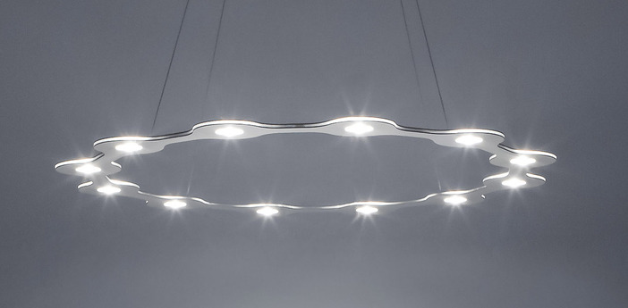 Suspension flat ring 12 aluminium led o98cm hcm lumen center italia normal