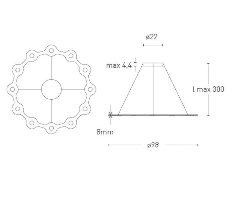 Flat ring 12 villa tosca suspension pendant light  lumen center italia flar1217227t  design signed 52747 product