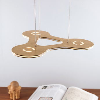 Pendant Light Flat Ring 3 Gold Led L34cm 2700k 1700lm