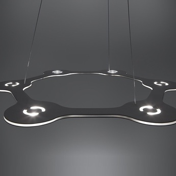 Suspension flat ring 6 aluminium led l56cm hcm lumen center italia normal