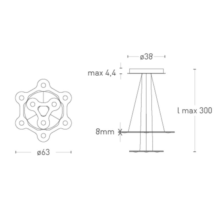 Flat saturn 1 villa tosca suspension pendant light  lumen center italia flas117227t  design signed 52753 product