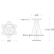 Flat saturn 1 villa tosca suspension pendant light  lumen center italia flas117227t  design signed 52753 thumb