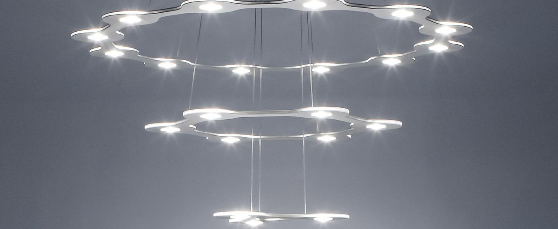 Suspension flat saturn 3 aluminium led o98cm hcm lumen center italia normal